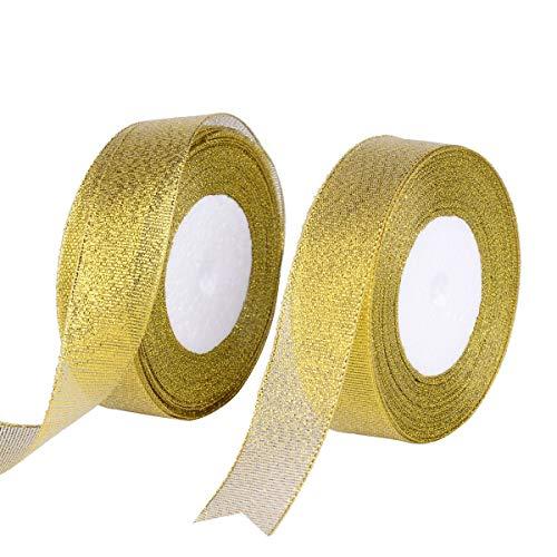 XNX Glitter Metallic Goud Lint 1-inch Breed door 50-Yards (2 Rolls X 25yd) Premium Sparkle Lint voor Ambachtslieden Bruiloft Vakantiewoning Decoratie Gift Wrap Card Maken Haar Bogen Bloemen Projecten (Goud)