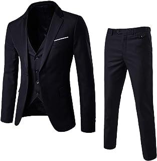 Plot Herren 3-Teilig Slim Fit Anzug Smoking Anzugjacke mit Anzug Hose Weste Set Blazer für Business Hochzeit Party