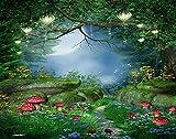 Y·JIANG Pintura de fantasía por números, hongos y faroles de hadas, lienzo acrílico para manualidades, pintura al óleo por números, para adultos, niños, decoración de la pared, 50,8 x 50,8 cm