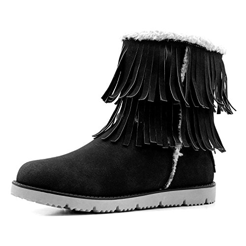 DailyShoes Women's Snow Bootie Winter Warm Ankle Short Moccasin Fringes Backpacking Boots Classic Heels Insole Comfort 2-Layer Round Toe Flat Fringe Eskimo High Swan-01 Black Sv 8