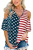July 4th Women Short Sleeve American Flag Top V Neck Casual Cold Shoulder Blouse L