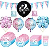90 Pezzi Baby Shower Decorazioni, Kit Baby Shower Gender Reveal Stoviglie Boy or Girl, con Tazze,...