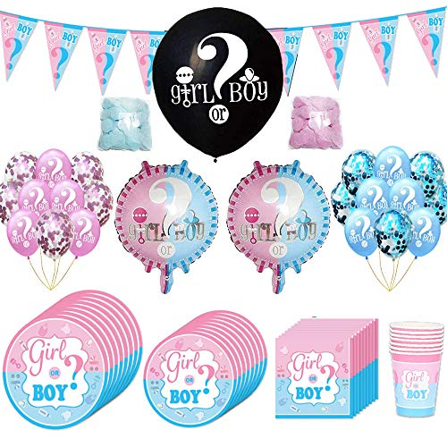 90 Pezzi Baby Shower Decorazioni, Kit Baby Shower Gender Reveal Stoviglie Boy or Girl, con Tazze, Piatti, Tovaglioli, Palloncini in Lattice, Coriandoli, Bandiera