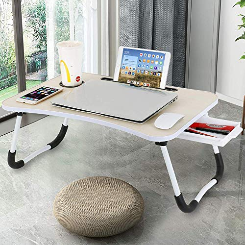 Laptop Desk with Drawer, Astory Portable Laptop Bed Tray Table Notebook Stand Reading Holder with Foldable Legs & Cup Slot for Eating Breakfast, Reading Book, Watching Movie on Bed/Couch/Sofa (Beige)