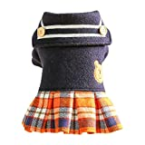 ZLOLIA Dog Sweater Dress Wool Tutu Skirt Winter Warm Pet Cat Knitted Clothes for Small Medium Dog Girls Black