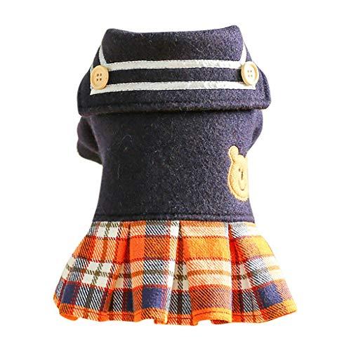 HappyShopYZ Otoño Invierno Plaid Cute Vestido de Princesa Perros Gatos Vestido Jerséis Ropa para Mascotas Tops
