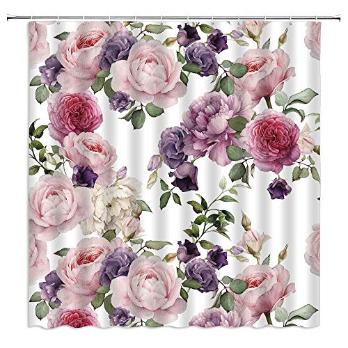 MNSC Pink Rose Shower Curtain Gray Vintage Flower Watercolor Floral Spring Blooming Girly Green Leaves Rustic Colourful Retro Chic Garden Plants Fabric Bathroom Curtain with Hooks,White