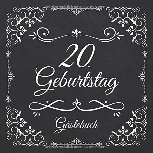 20. Geburtstag Gästebuch: Vintage Gästebuch Zum Eintragen und Ausfüllen für Glückwünsche für...