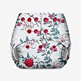 BASIC - Certified Soft Fleece Lined Pocket Diaper ONLY (WITHOUT ANY SOAKER) (Red Flower)