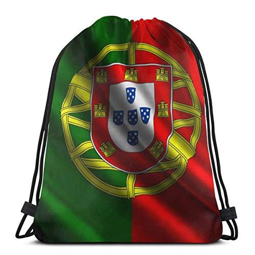 AEMAPE Bolsas con cordón, Mochila con Bandera de Portugal, Bolsas con Cuerdas, Almacenamiento Deportivo a Granel, Gimnasio para Mujeres, Mochila para Acampar al Aire Libre, Mochila para Picnic