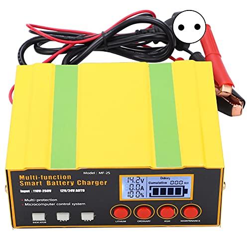 Cargador de batería automotriz, multifuncional automático universal inteligente fuente de alimentación, DC12V 12A/24V 8.5A Cargador de batería automotriz para automóviles(Normativa europea)