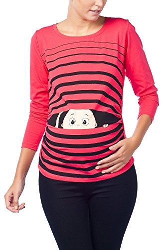 Vêtement de Maternité Humoristique T-Shirt Mignon à Motifs Cadeau pour Grossesse Femme Humour Tee Haut Vetement de Maternite à Manches Longues (Corail, Large)