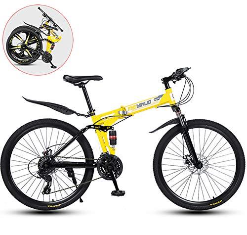 Bicicleta de Montaña,Plegable 26 Pulgadas Bicicletas de Acero Al Carbono,Doble Choque Velocidad Variable,30 Ruedas de Radios de Cuchilla,Altura Apropiada el 160-185cm,Amarillo,26 in (21 speed)