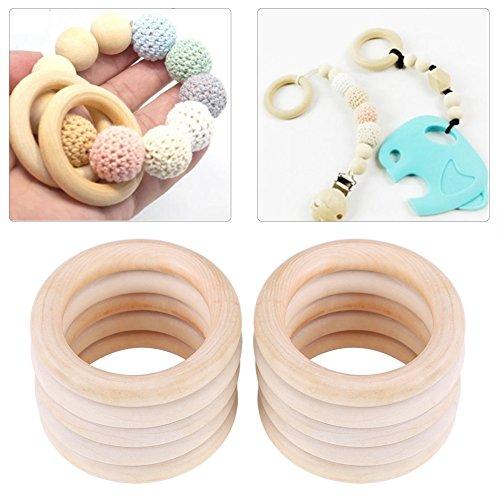 Cafopgrill 10 STÜCKE Holz Beißring Ringe Baby Infant Natürliche Holz Beißring Beißring Spielzeug Holz Armband DIY Handwerk