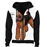 C COABALLA Color Sketch of The Dog Airedale Terrier Breed,Women's Hoodie Oversized Zip up Sweat Jacket S
