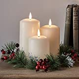 Lights4fun, Inc. Set of 3 TruGlow Battery Operated Flameless LED Ivory Wax Pillar Candles with Christmas Berry Wreath