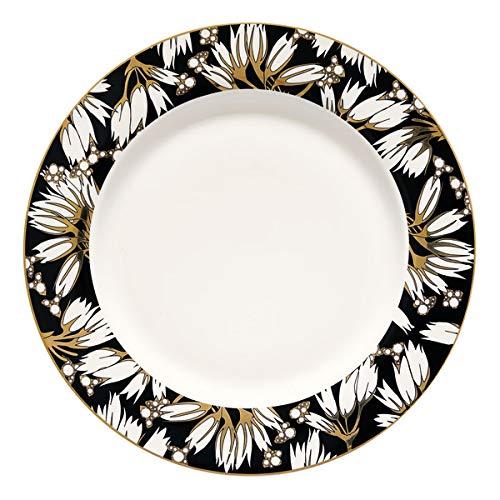 Greengate Florette Assiette Plate en Porcelaine de Chine Noir/Blanc/Multicolore Ø 25,3 cm