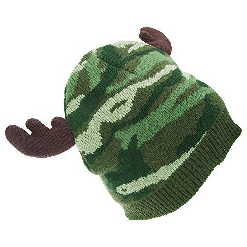 Floso - Bonnet Style Camouflage avec Imitation Bois de Renne - Homme (Taille Unique) (Vert)
