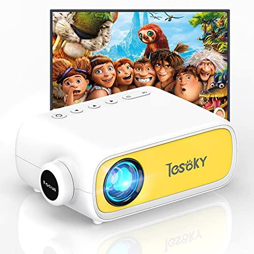 Tesoky YG280 Proyector para Movil, Proyector Portatil Compatible con USB/HDMI/DC/AV, Soporta Full HD y 23 Idiomas, Mini Proyector Cine en Casa para Regalo Infantil
