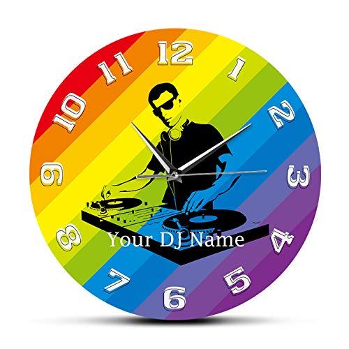 hufeng Reloj de Pared Nombre de DJ Personalizado Impreso DJ Reloj de Pared Disc Jockey Tocadiscos Mezclador Grabar DJ Personalizado Regalo de música Exclusivo Decoración de Club Nocturno