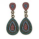 Chic-Net Pendientes de latón Antiguo Gotas de Oro Bolas de Color Rosa Azul Turquesa