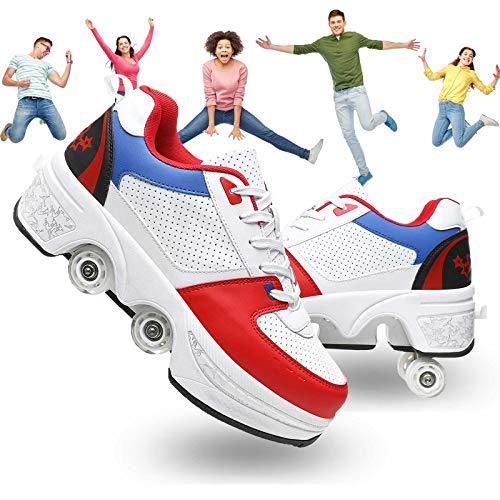 Pinkskattings@ Zapatos con Ruedas, Zapatos De Patinaje sobre Ruedas para Niña Y Niño, Zapatos Deportivos con Ruedas, Zapatos De Entrenamiento con Ruedas, Botón Pulsador Ajustable