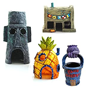 Aquarium Decorations 4 PCS SpongeBob Theme Fish Tank Accessories Pineapple House Easter Island Hom Krusty Kr...