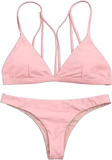 Women's Back Strappy Thong Bikini Set Padded Two Piece Bathing Suit