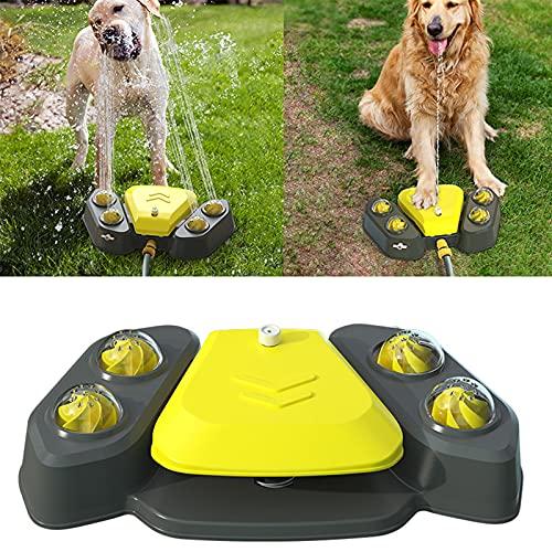 Fuente de Agua Potable para Perros, Fuente de Agua para Paso de Perros, rociador para Mascotas al Aire Libre, Juguete de refrigeración, presión de Agua Ajustable (Amarillo)