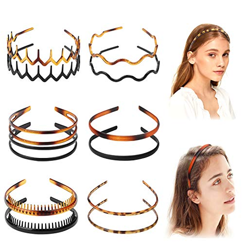 12Pcs Plastic Headbands for Women with Teeth Comb Elastic Plain Hair Bands Skinny Headbands for Womens and Girls Accessories