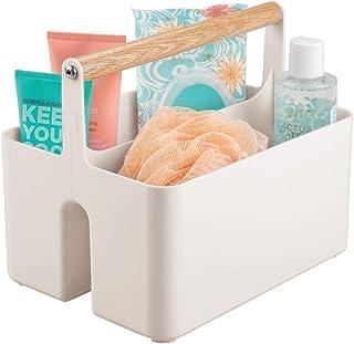 mDesign panier de rangement en plastique et bois pour salle de bain – boite avec poignée pour rangement maquillage – caiss...
