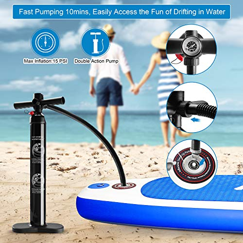 """Product Image 8: MaxKare Stand Up Paddle Board Inflatable SUP W Stand-up Paddle Board Accessories Backpack Paddle Leash Pump Non-Slip Deck ISUP Fishing Yoga Rigid Solid 10'× 30"""" ×6"""" Inches Thick Adult & Youth & Kid"""