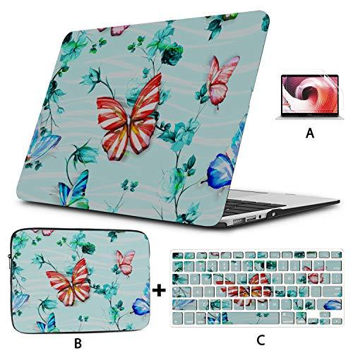 Estuche para portátil de 13 Pulgadas Mariposa Estuche de Flores Coloridas para Macbook Air Hard Shell Mac Air 11'/ 13' Pro 13'/ 15' / 16'con Funda para portátil para Macbook 2008-2020 Versión