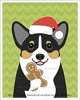 10DH - Tricolor Corgi Dog Eating Gingerbread Man Cookie UNFRAMED Wall Art Print by Lee ArtHaus