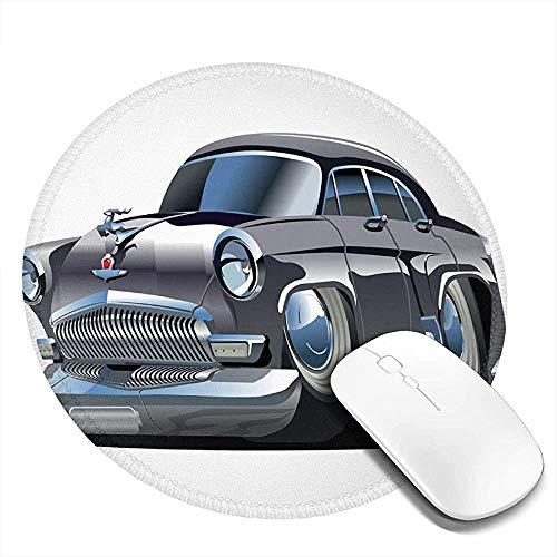 Runde Mausunterlage Mausepad,Retro Inspiriertes Autodesign Mit Asymmetrischen Reifen Schnelle Autogeschwindigkeit Cooles Logo 20Cm Wasserdichtes Mousepad,Rutschfestes Mousemat