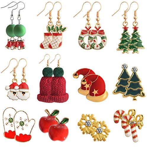 TUPARKA 12 pares de aretes de Navidad para niñas, Copo de nieve, Árbol de Navidad, Manzana roja, Guantes, Papá Noel, Calcetín de Navidad Pendientes de oreja Conjunto de joyas