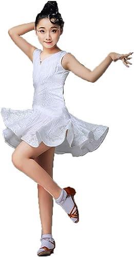 HUO FEI NIAO Costume de Danse - Costume de Gland Costume de Spectacle féminin Uniforme de Pratique de compétition sans Manches (Couleur   Blanc, Taille   140cm)