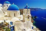 PROW Rompecabezas de Madera de 1000 Piezas 30 x 20 Pulgadas Vista al mar Santorini Isla Griega Rompecabezas para el de decoración de la Pared de la Familia Regalo