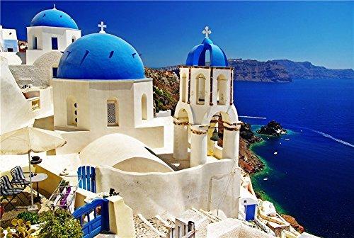 PROW® Puzzle Legno da 1000 Pezzi 30 x 20 Pollici Vista Mare Santorini Isola Greca Puzzle per Il Regalo di Decorazione della Parete della Famiglia