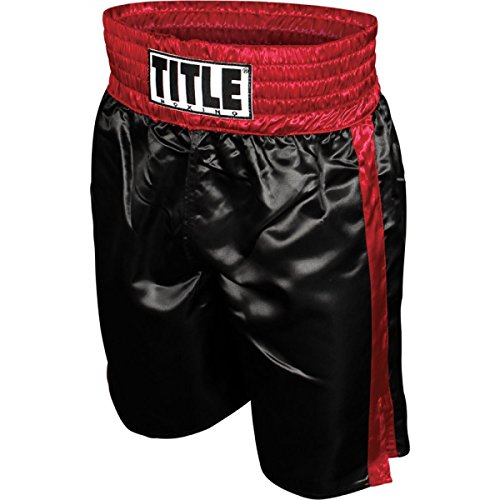 TITLE Professional Boxing Trunks, Black/Red, Large
