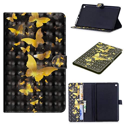 LMFULM® Hülle für Huawei Mediapad M3 Lite 8 (8,0 Zoll) PU Leder Ultra Dünn Magnet Lederhülle Goldschmetterling Muster Tasche Auto Schlaf/Wach Funktion Schutzhülle für Huawei M3 Lite 8.0