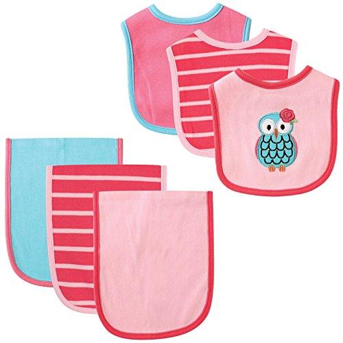 Hudson Baby 6 Piece Bib and Burp Cloth Set, Owl by Hudson Baby
