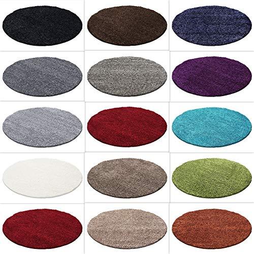 HomebyHome Hochflor Shaggy Teppich Rund Größen Langflorteppich, Farbe:Mocca, Grösse:120 cm Rund