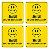 dealzEpic - Smile You are on Camera Video Surveillance Sign   Self Adhesive Vinyl Decal Sticker   Pack of 4 Pcs