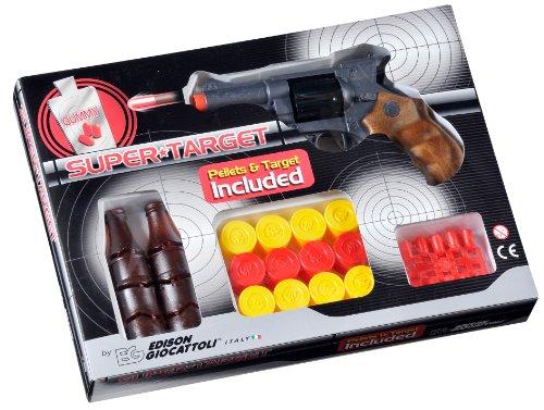 EDISON Giocattoli Champions-Line Super Target: speelgoedpistool met rubberen munitie en flessen en dobbelschijven in doos, 18,5 cm, bruin / zwart (E0480/21)