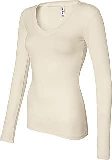 Women's Andrea Sheer Rib Long Sleeve Longer-Length V-Neck T-Shirt B8750
