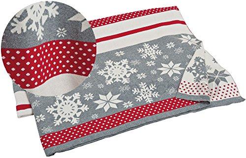 matches21 Winter sprei sneeuwvlokken pluizig gebreide deken 130 x 180 cm rood/wit/grijs