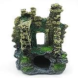 MOZHIXUE Castillo Ruinas Decoraciones de Acuario Simulación Rocas Decoración Cría Hidging Spots Holidos Pescado escondite para Betta Pequeños Lagartos Tortugas Reptiles,Natural