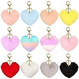 Auihiay 12 Stück Pom Poms Schlüsselanhänger Flauschig Herz Form Pompons Schlüsselanhänger Kaninchen Pelz Pompons für Valentinstag Geschenk
