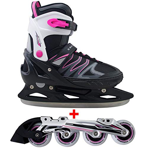 Cox Swain 2 in 1 Kinder Skates-/Schlittschuh -Joy- LED Leuchtrollen, ABEC 7 Carbon Lager, Colour: Black Pink, Size: XS (29-32)